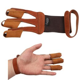 $enCountryForm.capitalKeyWord Australia - Archery 3 Finger Guard Protective Glove Cow Leather Suede Finger Tab Protector for Recurve Longbow Training