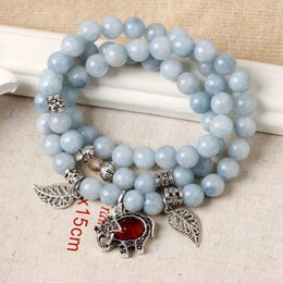 crystal pendant beads 2019 - Korean Fashion Natural Aquamarine Stone Crystal Multi-layer Bracelet with Red Stone Elephant Pendant Buddhist Prayer Bea