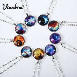 Wholesale Vienkim New Fashion Galaxy Necklaces Nebula Space Glass Cabochon Pendants Brand Jewelry for Women Men Best Friend Ship Gift