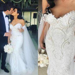 Yellow Gray Wedding Dresses Australia - Luxury off the Shoulder V Neck Mermaid Wedding Dress Embroidery Beads Bride Dress Plus Size Wedding Dress vestido de noiva