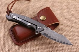 tactical belt knives 2019 - VG10 Damascus Wolf Smoke Folding Survival Knife Titanium Handle Hunting Tactical Pocket Knives EDC Tools With Belt Leath