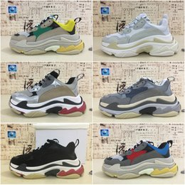 Discount thick rubber soled shoes - 2019 Best Luxury Triple-S Designer Low Sneakers Thick soles Boots Men Women Running Shoes Top Quality Sports casual Shoe