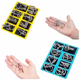 Games iq online shopping - 8pcs set D Interlocking Metal Trick Lock puzzle ring IQ Wire Brain Teaser Game Children Adults Kids Intelligence toy Party Favor AAA1283
