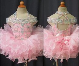 Cupcakes Pink Australia - 2019 Toddler Pageant Dresses Pink Organza Cupcake Kids Prom Gowns Crystal Beaded Open Back With Bow Formal Little Girls Birthday Party Dress