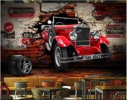 Discount classic car wallpaper - 3d wallpaper custom photo mural 3Dstereo vintage classic car car broken wall restaurant hotel murals wallpaper 3d landsc