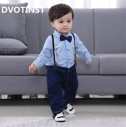 eb4fe0f09 Dvotinst Baby Boy Clothes Full Sleeves Gentleman Bow Tie Romper Outfit Bib  Pants Infant Toddler Wedding Jumpsuit Birthday