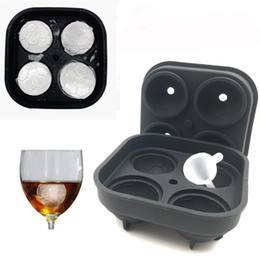 China Silicone Ice Tray Four Holes Ice Cube Maker Football Ice Hockey World Cup 3D Mould solid cover with distribution funnel cheap world moulds suppliers