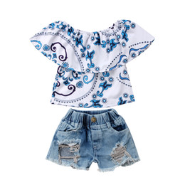 girls ripped shirts UK - Casual Canis Kids Baby Girl Top T-shirt Ripped Jeans Denim Shorts Casual Outfits Set