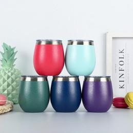 Discount glass coffee mugs - 8oz Egg Mug Stainless Steel Stemless Drinking Coffee Tea Cups Wine Glass Water Bottle Beer Mugs Tumbler 100pcs OOA5353