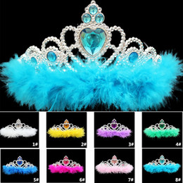 Wholesale Plastic Feather Princess Crown Children Kids Adult Girls Rhinestone Hair Accessories Party Movie Cosplay Crown Supplies TY7