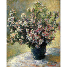 Discount flower vase paintings canvas - Claude Monet paintings of Vase of Flowers handmade canvas art for bedroom High quality