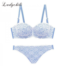 $enCountryForm.capitalKeyWord NZ - Ladychili Women Intimates Blue Black Lace Embroidery Bra Set Cute Lolita Young Girl Push Up Half Cup Bra and Panties Set N320