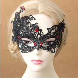 $enCountryForm.capitalKeyWord NZ - High Quality Black Lace Gothic Azrael Zombie Mask Halloween Female Mask Half Face Sexy Masquerade Mardi Gras Mask Party Decoration Cosplay