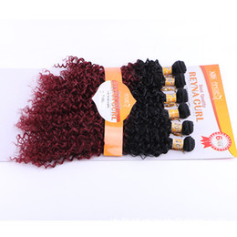 hair extension sewing 2019 - Curly Sew in Weave Synthetic Hair Wefts Full Head Sew in Weave Hair Extensions ombre color 6pcs set 14-18 inch