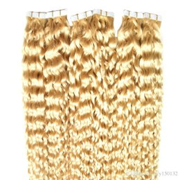 Nastro in estensione dei capelli umani 60 # arricciatura profonda 30 pollici stile di salone di capelli di trama della pelle 40pcs / pac in Offerta