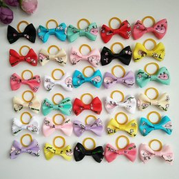 Female Hair Colors Australia - 100pcs 1.4inch Cute Cartoon Ribbon Dogs Cats Hair Accessories Handmade High Quality Pet Hair Bows Dog Grooming Accessories Mix Colors