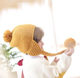Baby Boy Skull Crochet Beanies Australia - Baby Winter Fur Pompom Hat Children Crochet Ear Protection Warm Cap Boy Girls Knitting Twist Braids Beanies Hats baby muts 3-9 years old