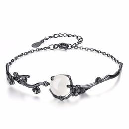 Wholesale 925 Silver Bracelets Cheap Australia - 100% 925 sterling silver fashion black gem natural white chalcedony ladies`bracelets jewelry women female gift wholesale cheap