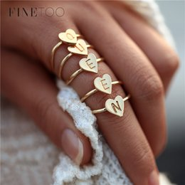 Stamp Rings Australia - Hand Stamped Stacking A-Z Letter Rings for Women Bohemian Engraved Personalized Initial Ring Gold Color Heart Rings