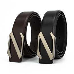 Z Buckle Leather Belt NZ - Men Diamond Z Shaped Needle Buckle Belts Real Leather Metal Waistband Weddding Strap For Jeans Free Shipping