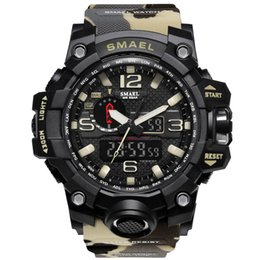 Wholesale SMAEL Brand Men Dual Time Camouflage Military Digital Watch LED Wristwatch M Waterproof Clock Sport Watches