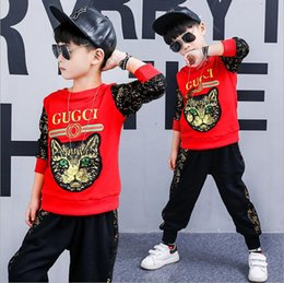 neck face clothing 2019 - Luxury fashion cat face embroidery sequin sports suit boy and girl casual suit cotton shirt + pants clothing baby sports