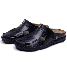 Discount massage rooms - Hot 2018 Big Size Men's Sandals Summer British Fashion Man Genuine Leather Beach Shoes Men Massage Non-Slip Large S