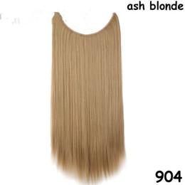 """Высокое качество 20"""" Невидимый провода нет клипы в наращивание волос лески шиньоны реального природного Ложный Synthetic для укладки волос на Распродаже"""