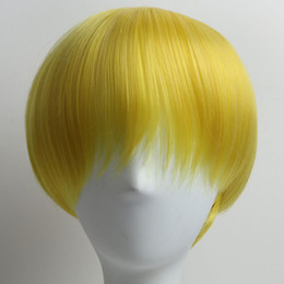 $enCountryForm.capitalKeyWord NZ - Short Yellow Wig for Black Women White Women Men Short Synthetic Wigs with Bangs Straight Wigs and Cap Wholesale Hair Wigs