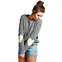 99e7d583de Fashion Women Autumn Winter Sweater Heart O-neck Long Sleeve Loose Pullover  Knitwear Sweaters For Women Camisola Femme Pull