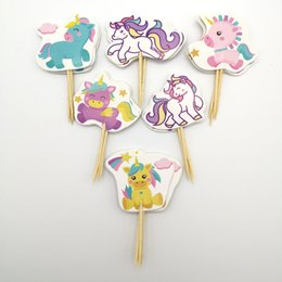 $enCountryForm.capitalKeyWord NZ - 24pc lot Happy Birthday Party Lile Unicorn Baby Decorate Cake Toppers With Sticks Baby Shower Girls Kids Favors Cupcake Topper