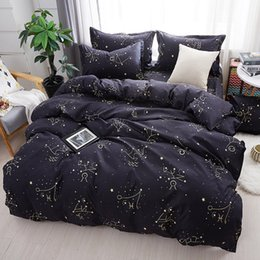 Discount galaxy bedding full size - Home Textile Galaxy Star Bed Linen Constellation Duvet Cover Bedding Sets Twin Full Queen King Size 3 4Pcs Pillowcases B