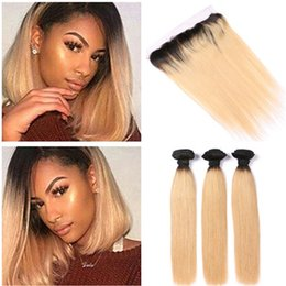 $enCountryForm.capitalKeyWord Australia - #1B 27 Honey Blonde Ombre Indian Human Hair Weaves with Frontals Silky Straight Ombre Strawberry Blonde 3 Bundles with Lace Frontal 13x4