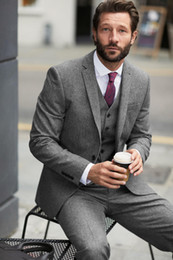 Discount wedding suits for men light gray - 2018 Latest Coat Pant Designs Three Pieces Wedding Suits For Men Formal Business Tuxedos Custom Made