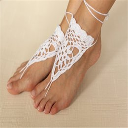Wholesale White crochet barefoot sandal handmade Crochet white barefoot sandals Nude shoes Beach Sexy shoes bridal beach accessories white lace sande