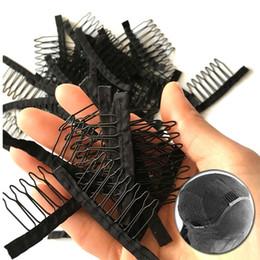 Vente en gros Peigne De Perruque Avec Tissu Polyster Durable 7 Dents Perruque Accessoires Extension De Cheveux Attacher Des Peignes 10-100 Pcs En Gros Noir Dentelle Perruque Clips Outils