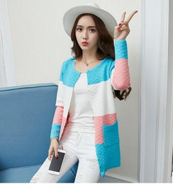 Color Block Knitted Maternity Cardigan Sweater Korean Fashion 2017 Spring Autumn Knit Shirt Clothes for Pregnant Women SZ6905