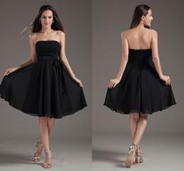 f45353d8e43 Formal strapless dress knee length online shopping - 2018 New Cheap Black  Pleated Chiffon Bridesmaid Dresses