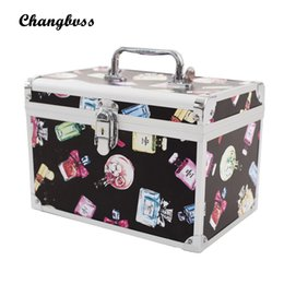 Cosmetic Bags Locks Canada - Perfume-Bottle Pattern Lady Make Up Box Professional Makeup Bag Quality Lock Big Capacity Travel Cosmetic Bag Tools Necessaries