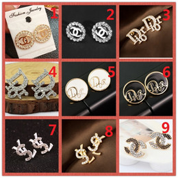 Discount fashion studs earrings - Mixed wholesale! 14K Brand Designer Pearl letter Stud Earrings collar needle Diamond Wedding Party Fashion Jewelry Gift