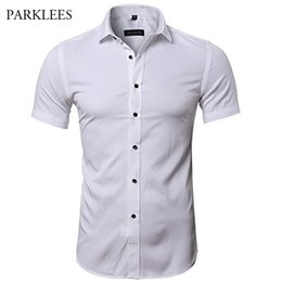 Wholesale ironing mens dress shirts for sale – dress Mens Hipster Elastic Bamboo Fiber Dress Shirts Slim Short Sleeve Casual Button Down Work Shirt Easy Care Solid Non Iron Chemise