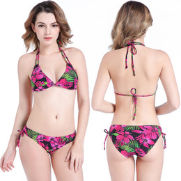 e51dca7cb2b Women Fashion Swimsuit Bikini 2018 Summer Plus Size Sexy Beach Holiday  Colorful Flower Printed Swimwear Big Yard Lady Brakinis Two Pieces