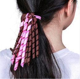 Discount kids ponytail hair tie holder - Mom and Baby Colorful Curly Ribbon Hair Ties Girls Hair Rubber Bands Kids Ponytail Holders Elastic Hair Bands For Women