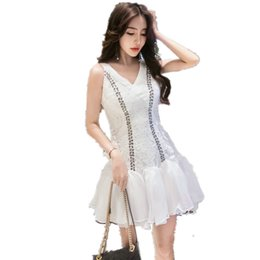 Sexy Lace Clothes UK - 2018 Summer new women's dress clothes fashion sexy v-neck Lace hollow out splicing chiffon dress STPRRES