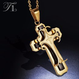 Necklace three crosses online shopping - Tl Stainless Steel Cross Pendant Necklaces Stereoscopic Fashion Design Three Layer Artist Designer Necklace Mature Men Necklaces