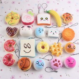 rare phones 2020 - 10pcs lot Kawaii Squishies Bun Toast Donut Bread for cell phone Bag Charm Straps Wholesale mixed Rare Squishy slow risin