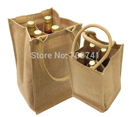 bottle tote bags NZ - T052,Free Shipping,100pcs lot,20X19X35cm,Four 4 bottles Jute Wine Bag with Divider Cotton Corded Handle,Custom logo Size accept
