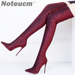 Wholesale Size Sexy bling bling Luxury Sequin Cloth Thigh High Heels Elastic Shoe Glitter Stiletto Over the Knee Fashion Red Boot Women