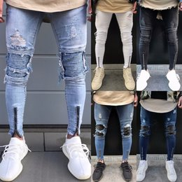 Ivory Mens Pants Canada - Men's Warm Jeans Distressed Ripped Jeans Mens Hole Jeans Moto Black Denim Pants Slim Skinny Fit Trousers jean homme S913