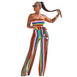 $enCountryForm.capitalKeyWord UK - summer casual women clothing fashion stripe vest Strapless+long pants suit two-piece set 2018 new women clothing 2 piece jumpsuit